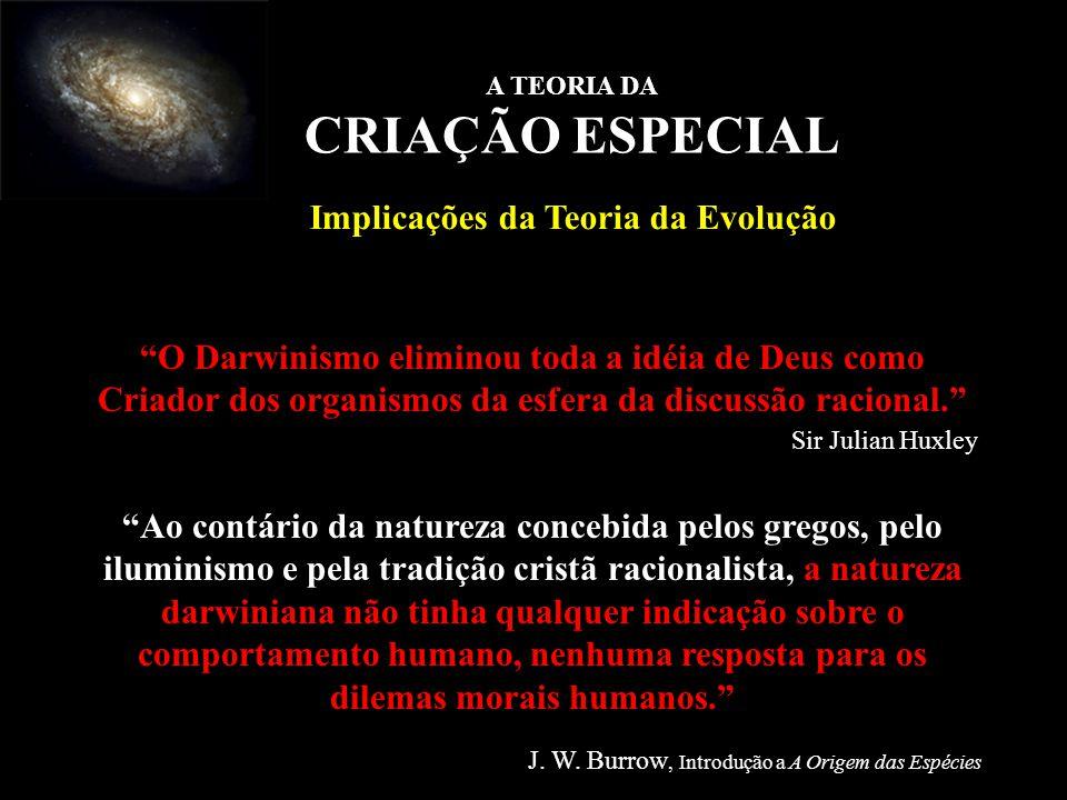 O Darwinismo eliminou toda a idéia de Deus como Criador dos organismos da esfera da discussão racional. Sir Julian Huxley Ao contário da natureza conc