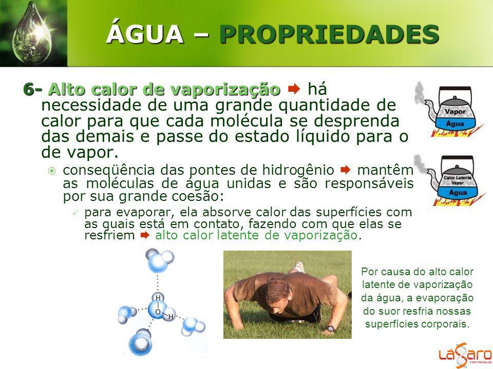 ÁGUA – PROPRIEDADES 6-Alto calor de vaporização 6- Alto calor de vaporização há necessidade de uma grande quantidade de calor para que cada molécula s