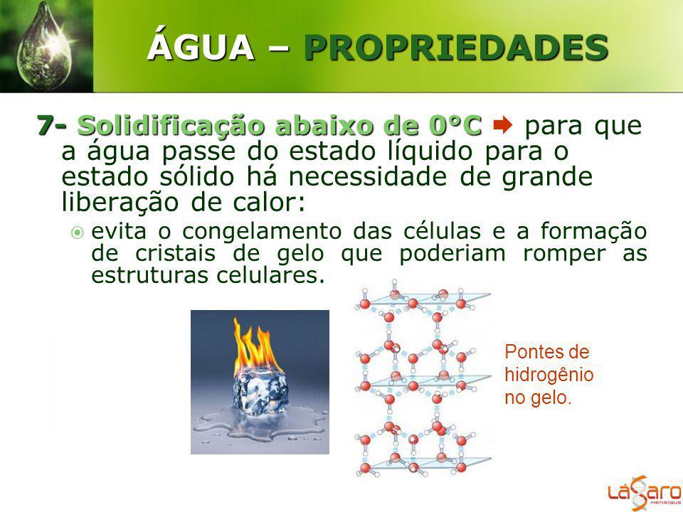 ÁGUA – PROPRIEDADES 7-Solidificação abaixo de 0°C 7- Solidificação abaixo de 0°C para que a água passe do estado líquido para o estado sólido há neces