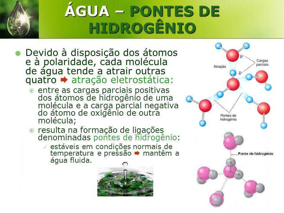 ÁGUA – PONTES DE HIDROGÊNIO Devido à disposição dos átomos e à polaridade, cada molécula de água tende a atrair outras quatro atração eletrostática: e