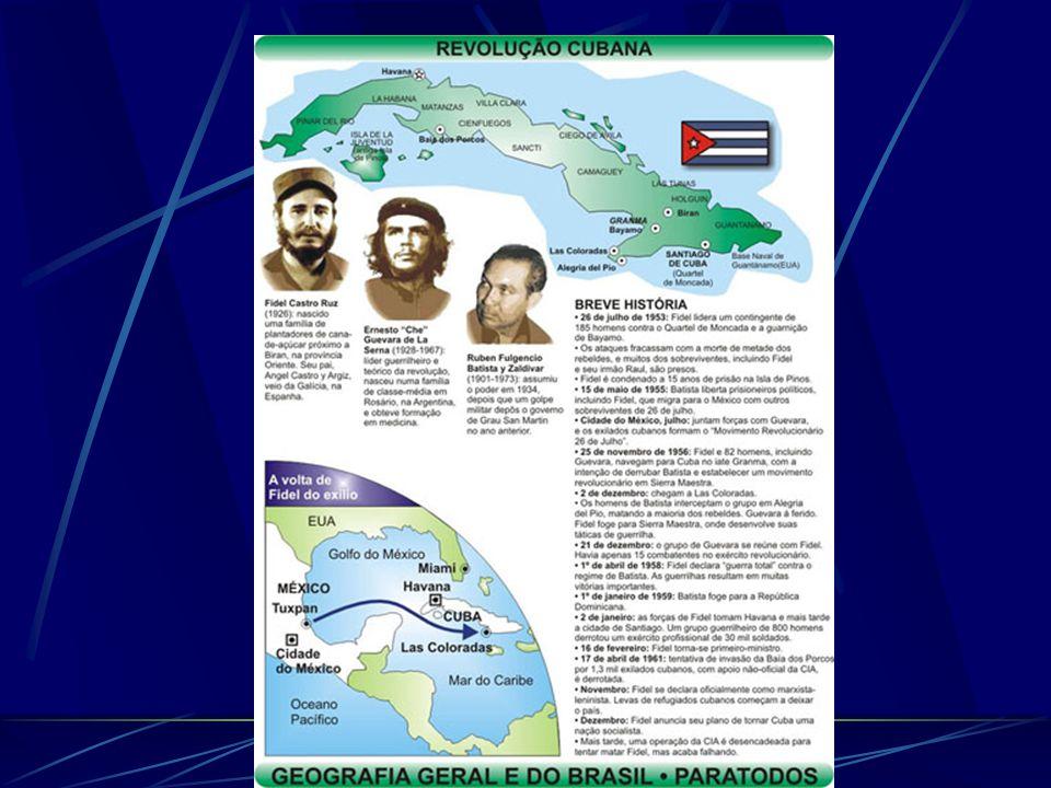 Revolução Cubana A Revolução Cubana constituiu a primeira revolução socialista na América Latina. Em janeiro de 1959, o governo pró-norte-americano de