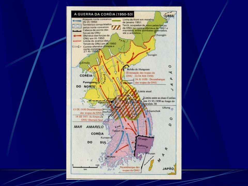 A Guerra da Coréia (1950-1953) Até 1945, a península da Coréia esteve sob ocupação japonesa. Após a derrota japonesa, a União soviética ocupou militar