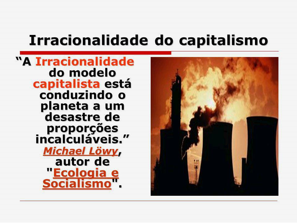 Irracionalidade do capitalismo A Irracionalidade do modelo capitalista está conduzindo o planeta a um desastre de proporções incalculáveis. Michael Lö