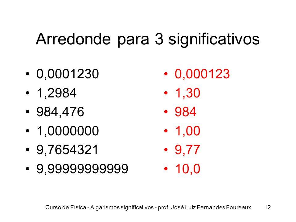 Curso de Física - Algarismos significativos - prof. José Luiz Fernandes Foureaux12 Arredonde para 3 significativos 0,0001230 1,2984 984,476 1,0000000