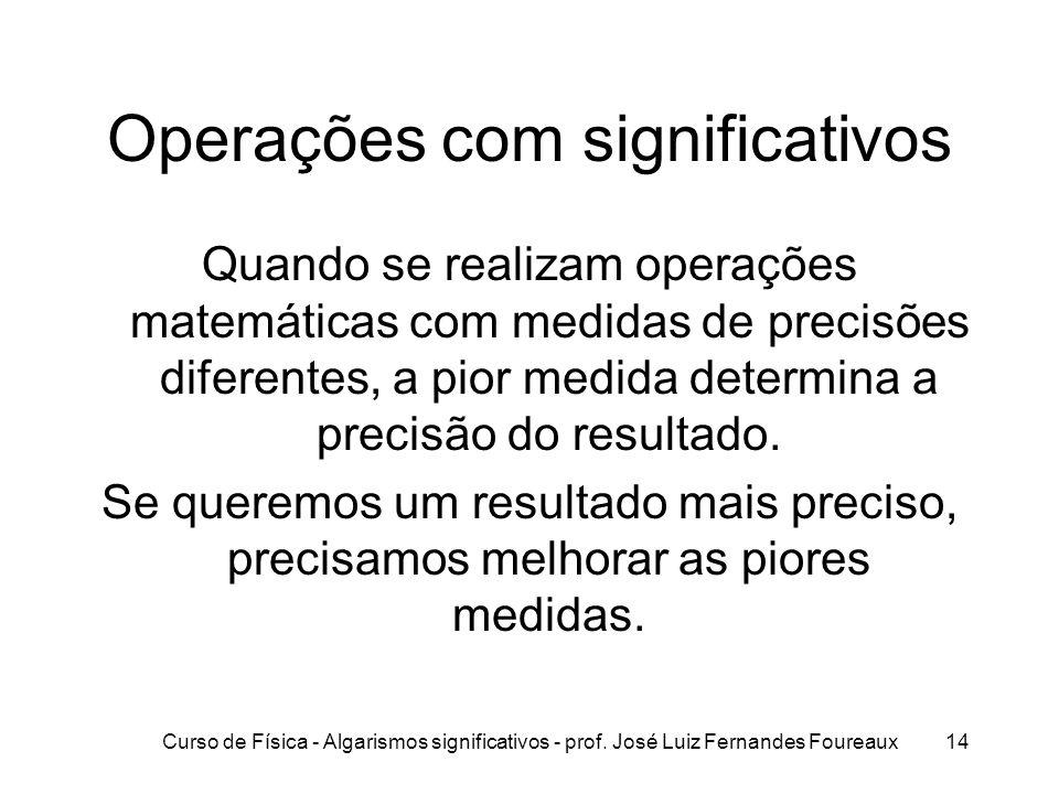 Curso de Física - Algarismos significativos - prof. José Luiz Fernandes Foureaux14 Operações com significativos Quando se realizam operações matemátic