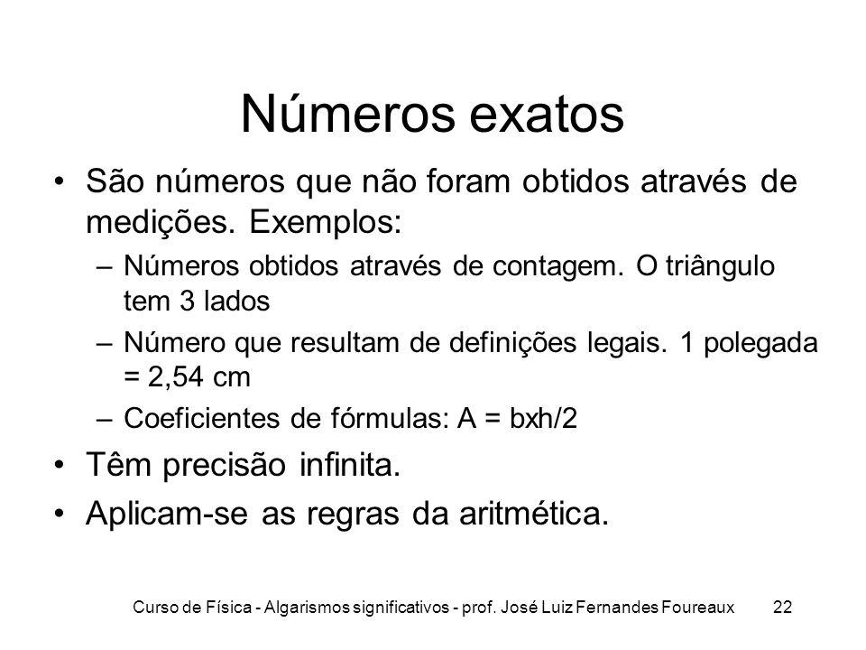 Curso de Física - Algarismos significativos - prof. José Luiz Fernandes Foureaux22 Números exatos São números que não foram obtidos através de mediçõe