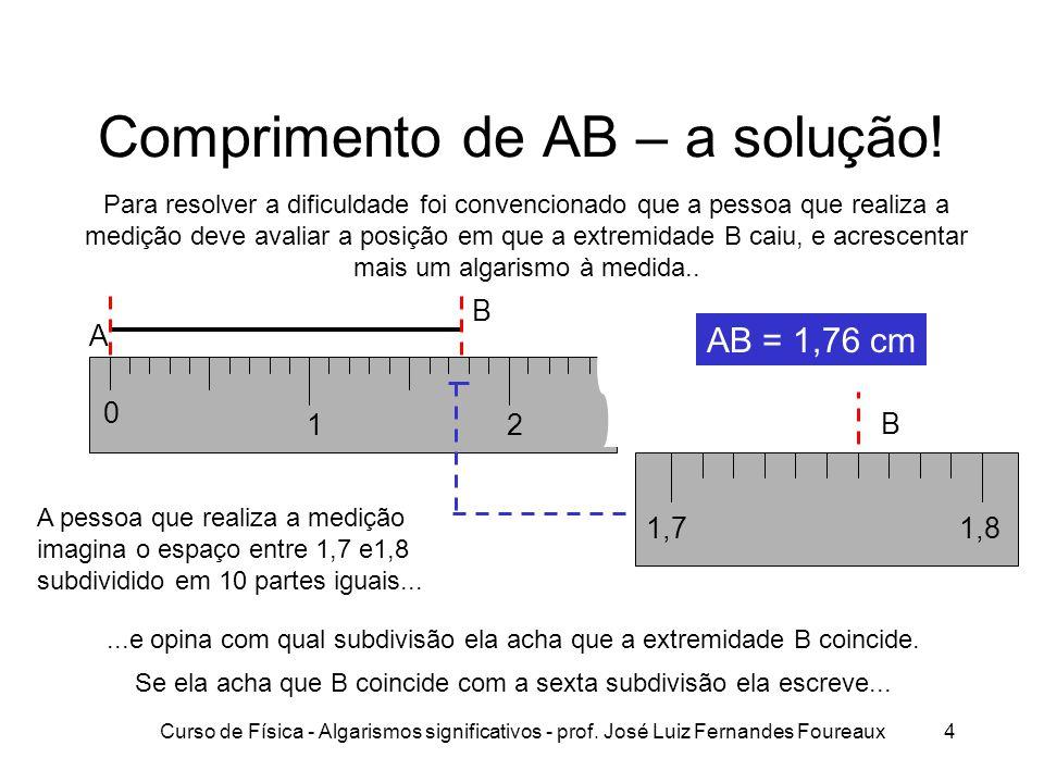 Curso de Física - Algarismos significativos - prof. José Luiz Fernandes Foureaux4 Comprimento de AB – a solução! Para resolver a dificuldade foi conve