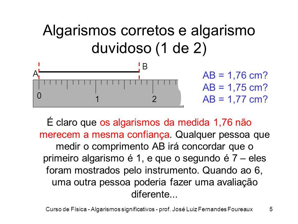 Curso de Física - Algarismos significativos - prof. José Luiz Fernandes Foureaux5 Algarismos corretos e algarismo duvidoso (1 de 2) É claro que os alg