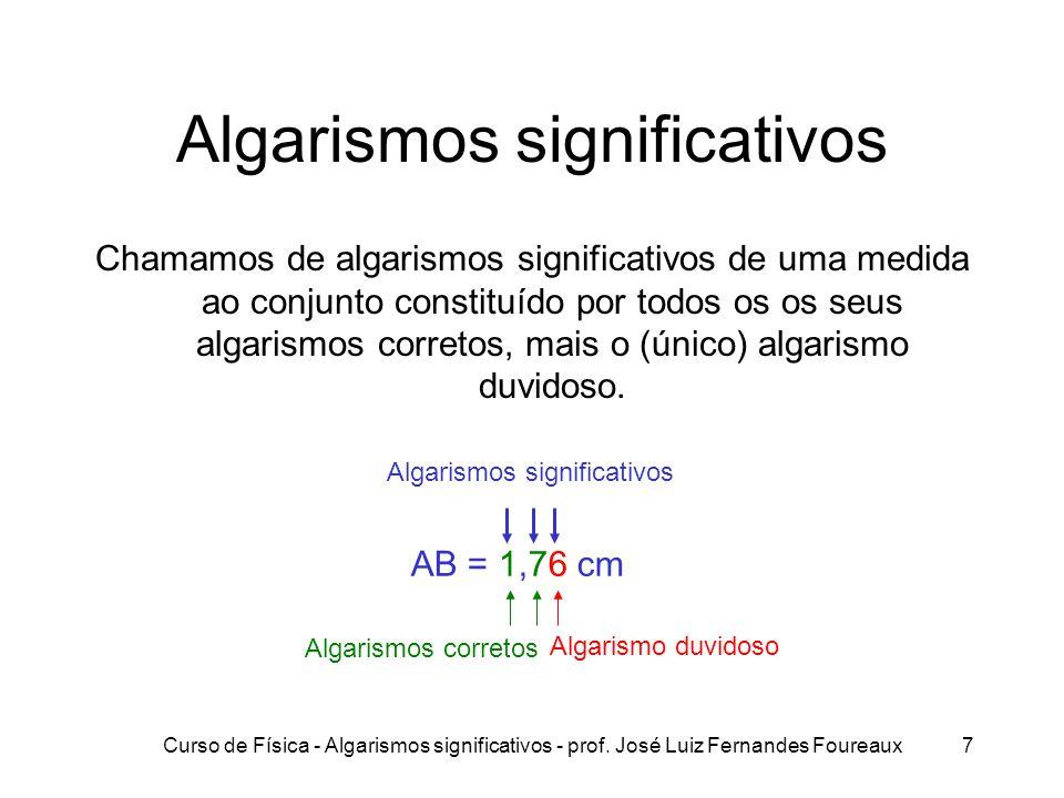 Curso de Física - Algarismos significativos - prof. José Luiz Fernandes Foureaux7 Algarismos significativos Chamamos de algarismos significativos de u
