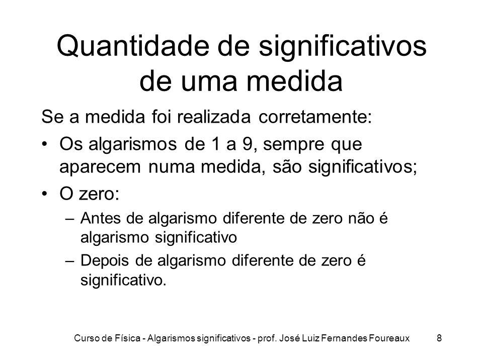 Curso de Física - Algarismos significativos - prof. José Luiz Fernandes Foureaux8 Quantidade de significativos de uma medida Se a medida foi realizada
