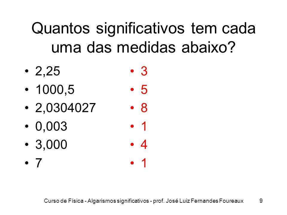Curso de Física - Algarismos significativos - prof. José Luiz Fernandes Foureaux9 Quantos significativos tem cada uma das medidas abaixo? 2,25 1000,5