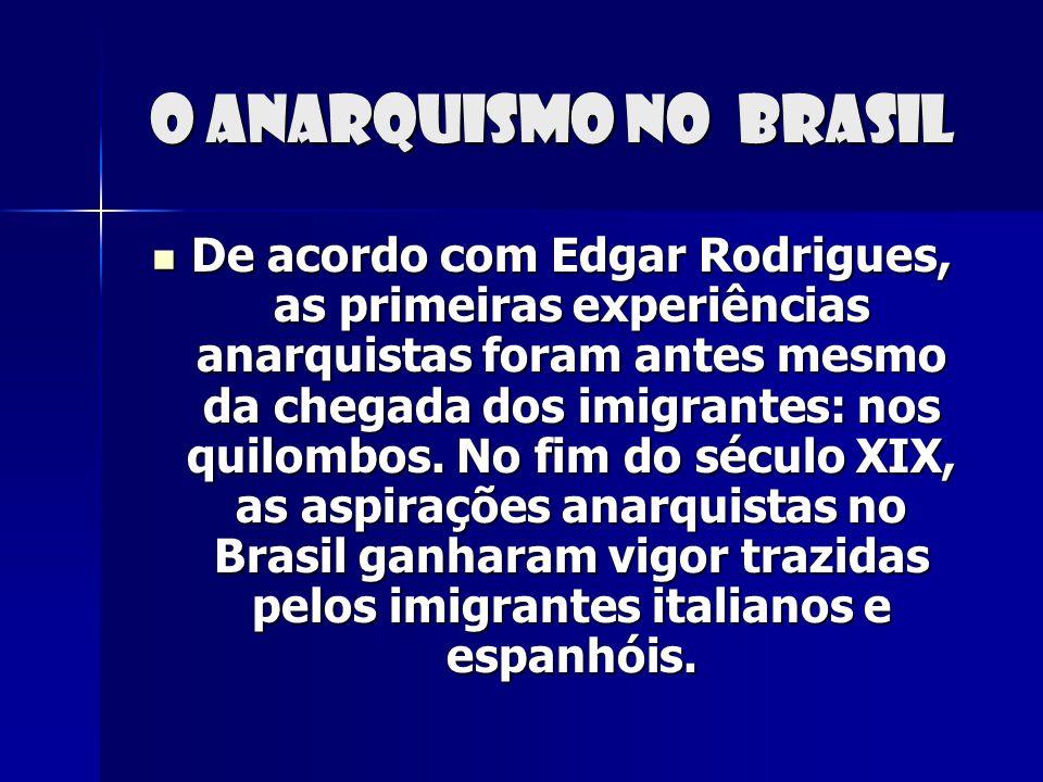 O anarquismo no Brasil De acordo com Edgar Rodrigues, as primeiras experiências anarquistas foram antes mesmo da chegada dos imigrantes: nos quilombos