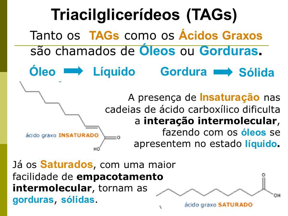 A presença de Insaturação nas cadeias de ácido carboxílico dificulta a interação intermolecular, fazendo com os óleos se apresentem no estado líquido.