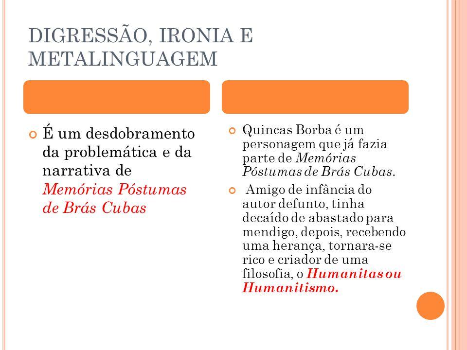DIGRESSÃO, IRONIA E METALINGUAGEM É um desdobramento da problemática e da narrativa de Memórias Póstumas de Brás Cubas Quincas Borba é um personagem q