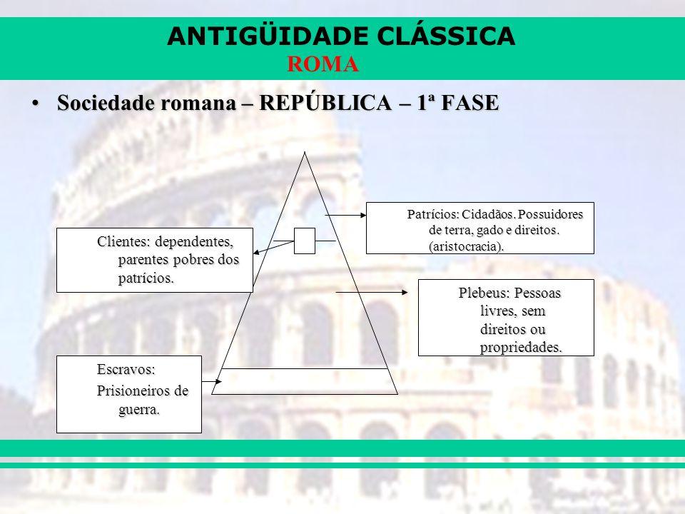 ANTIGÜIDADE CLÁSSICA ROMA Sociedade romana – REPÚBLICA – 1ª FASESociedade romana – REPÚBLICA – 1ª FASE Patrícios: Cidadãos. Possuidores de terra, gado