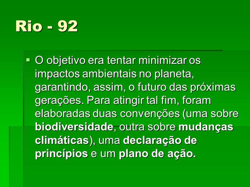 Rio - 92 O objetivo era tentar minimizar os impactos ambientais no planeta, garantindo, assim, o futuro das próximas gerações.