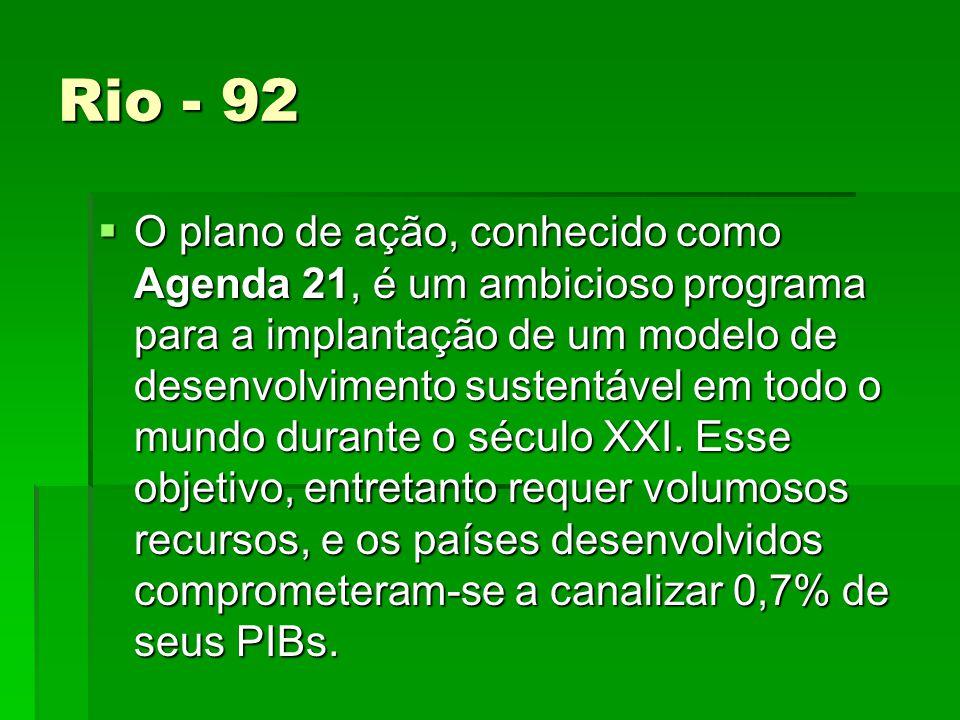 Rio - 92 O plano de ação, conhecido como Agenda 21, é um ambicioso programa para a implantação de um modelo de desenvolvimento sustentável em todo o mundo durante o século XXI.