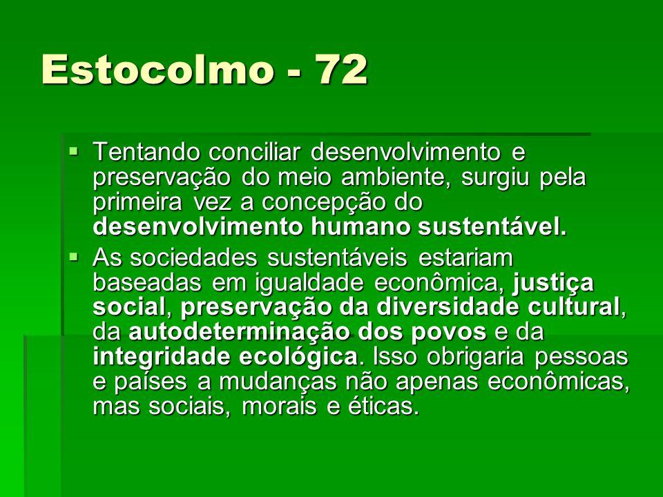 Estocolmo - 72 Tentando conciliar desenvolvimento e preservação do meio ambiente, surgiu pela primeira vez a concepção do desenvolvimento humano sustentável.