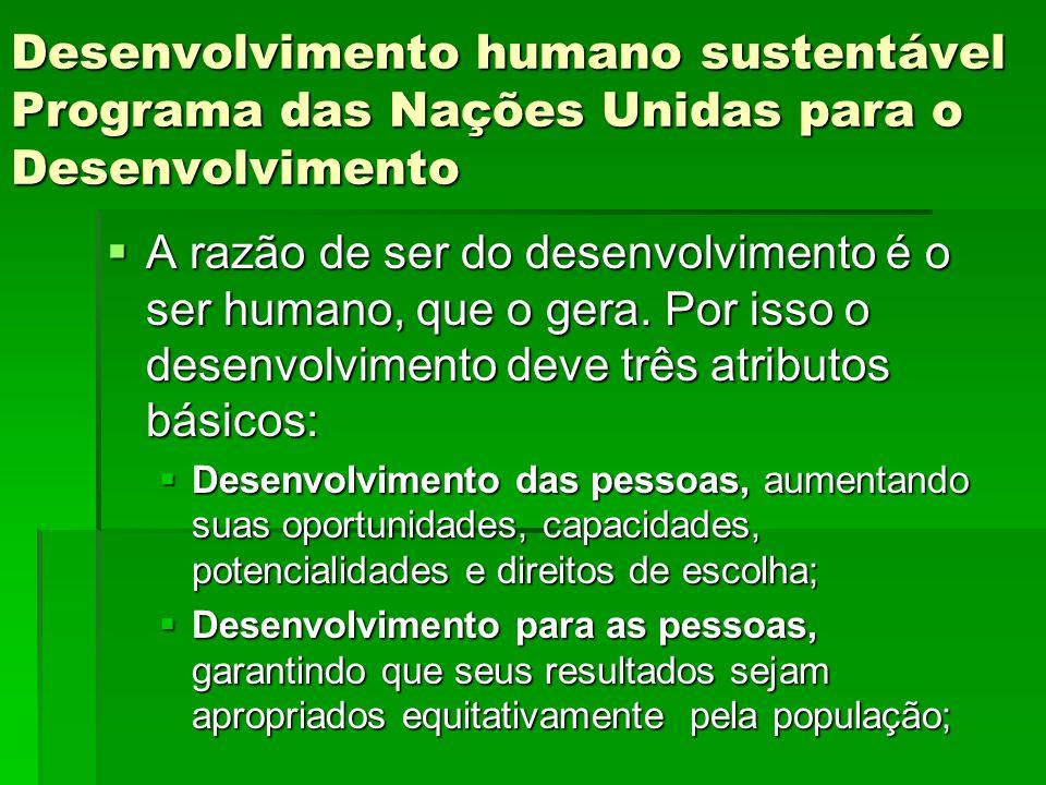 Desenvolvimento humano sustentável Programa das Nações Unidas para o Desenvolvimento A razão de ser do desenvolvimento é o ser humano, que o gera.