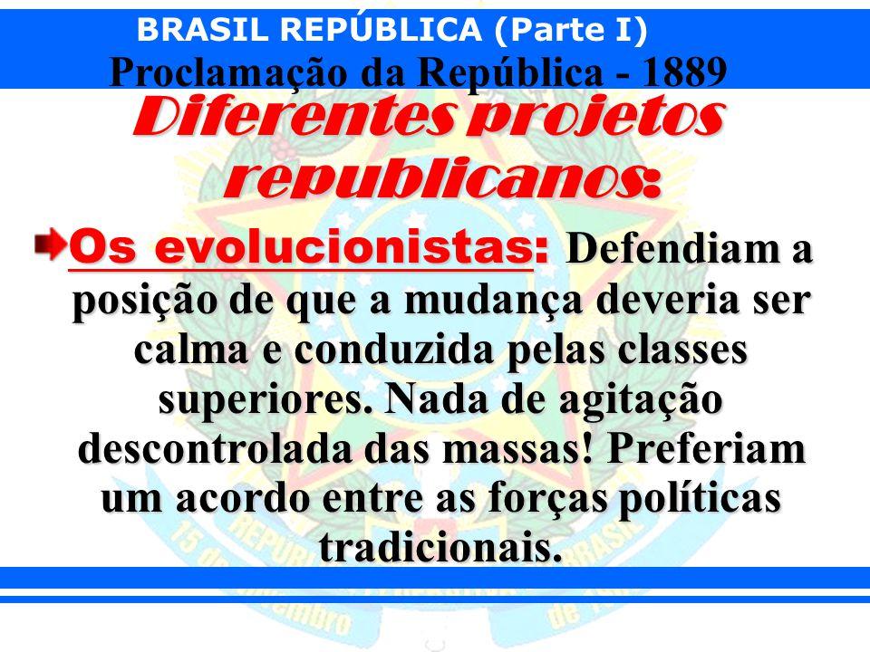 BRASIL REPÚBLICA (Parte I) Proclamação da República - 1889 Os revolucionários: Tinham como modelo a revolução francesa; e queriam que a república chegasse através de uma revolução popular, na qual os ideais dos direitos dos cidadãos de liberdade e igualdade fossem os pontos mais fortes.