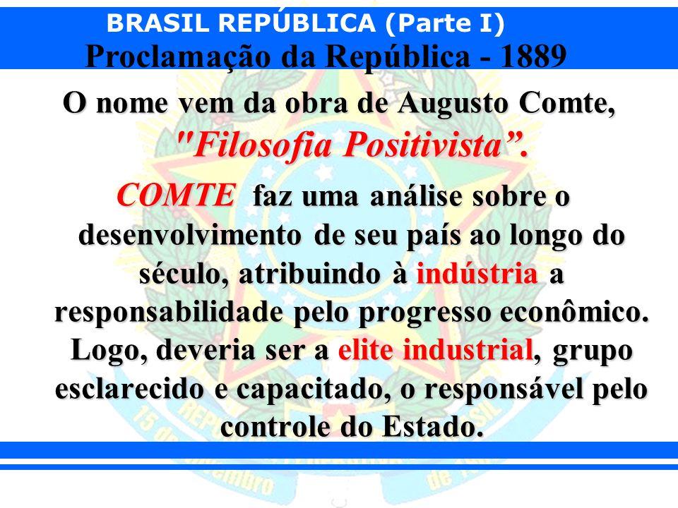 BRASIL REPÚBLICA (Parte I) Proclamação da República - 1889 Para Comte, caberia a elite governar, enquanto caberia ao povo trabalhar.