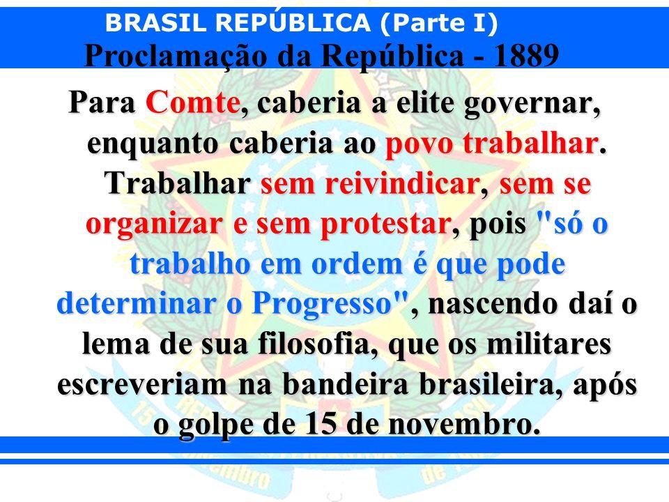 BRASIL REPÚBLICA (Parte I) Proclamação da República - 1889 Para Comte, caberia a elite governar, enquanto caberia ao povo trabalhar. Trabalhar sem rei