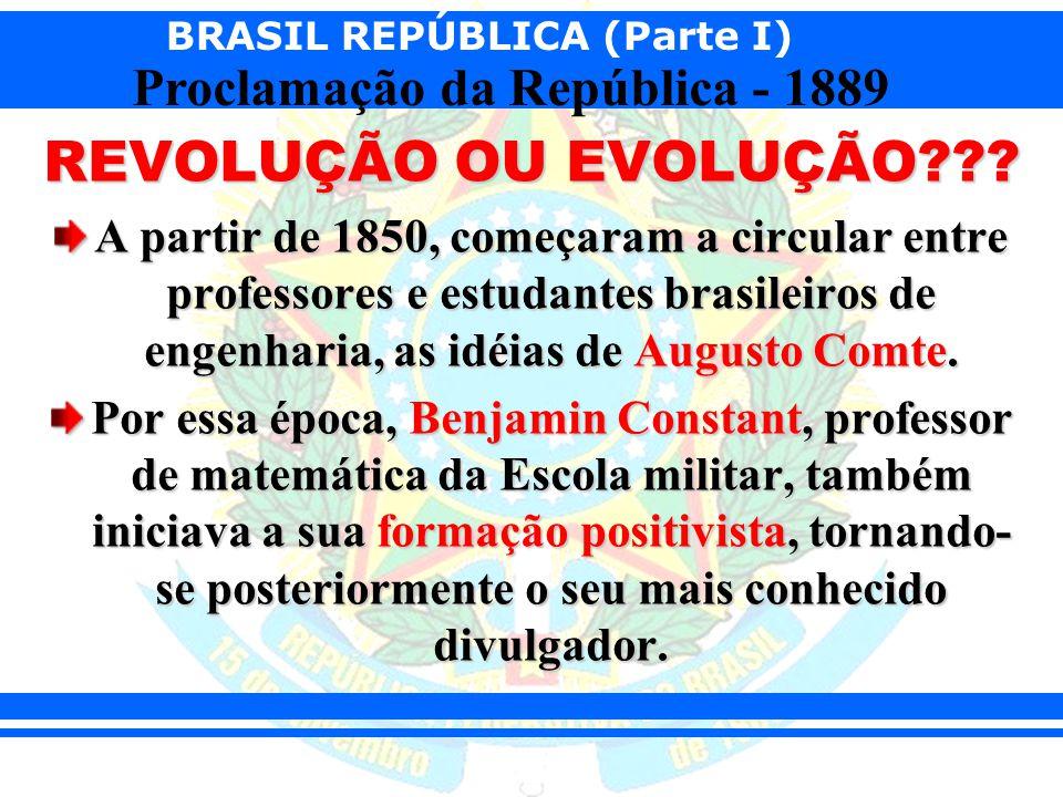 BRASIL REPÚBLICA (Parte I) Proclamação da República - 1889 REVOLUÇÃO OU EVOLUÇÃO??? A partir de 1850, começaram a circular entre professores e estudan