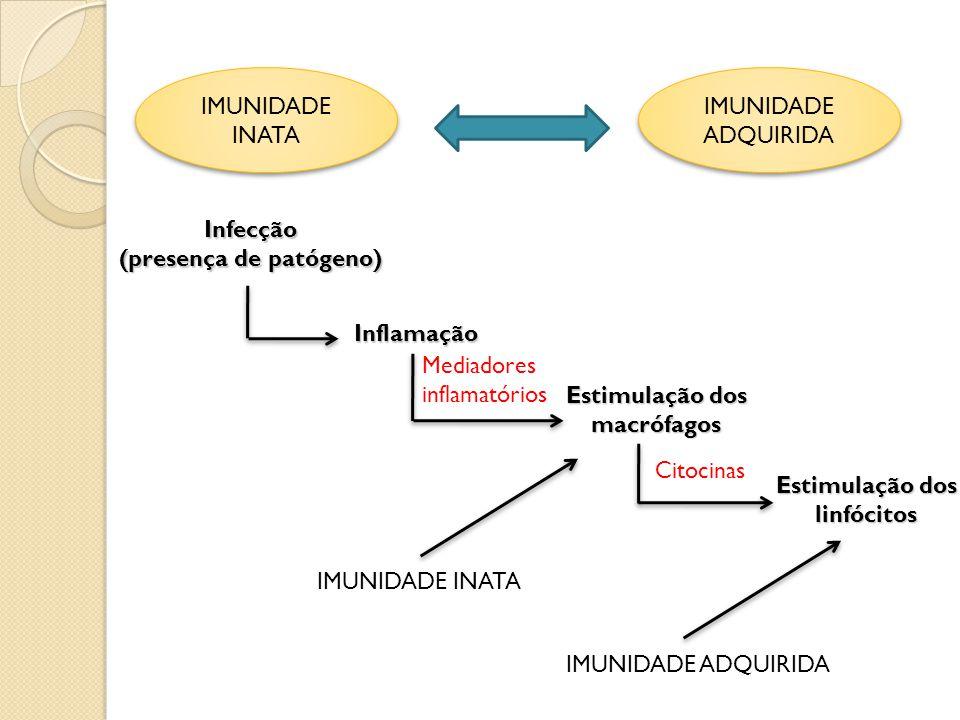IMUNIDADE INATA IMUNIDADE ADQUIRIDA IMUNIDADE ADQUIRIDAInfecção (presença de patógeno) Inflamação Mediadores inflamatórios Estimulação dos macrófagos