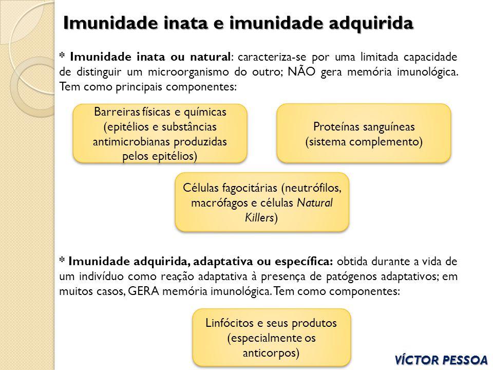 VÍCTOR PESSOA Imunidade inata e imunidade adquirida * Imunidade inata ou natural: caracteriza-se por uma limitada capacidade de distinguir um microorg