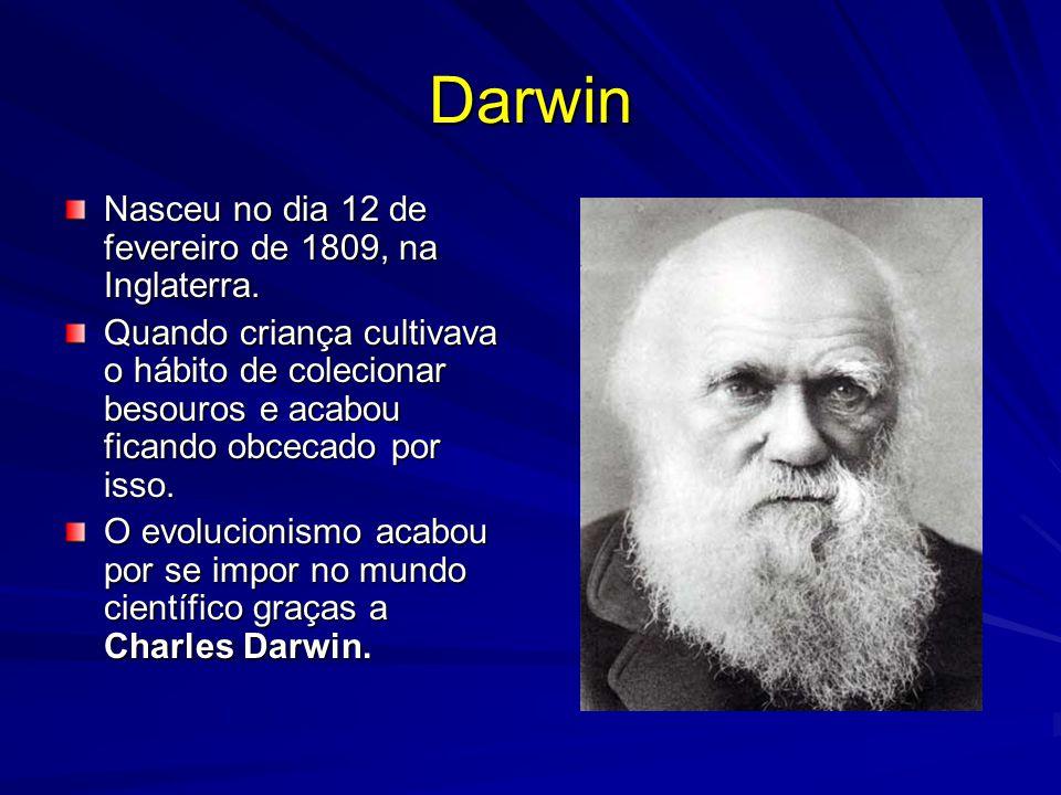 Darwin Nasceu no dia 12 de fevereiro de 1809, na Inglaterra. Quando criança cultivava o hábito de colecionar besouros e acabou ficando obcecado por is