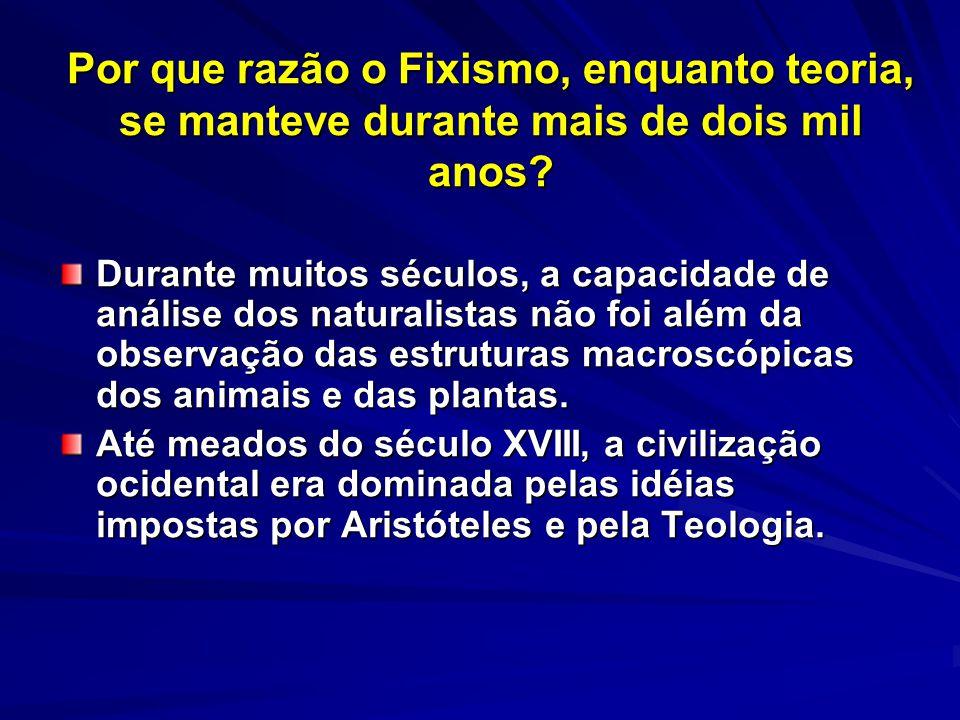Por que razão o Fixismo, enquanto teoria, se manteve durante mais de dois mil anos? Durante muitos séculos, a capacidade de análise dos naturalistas n