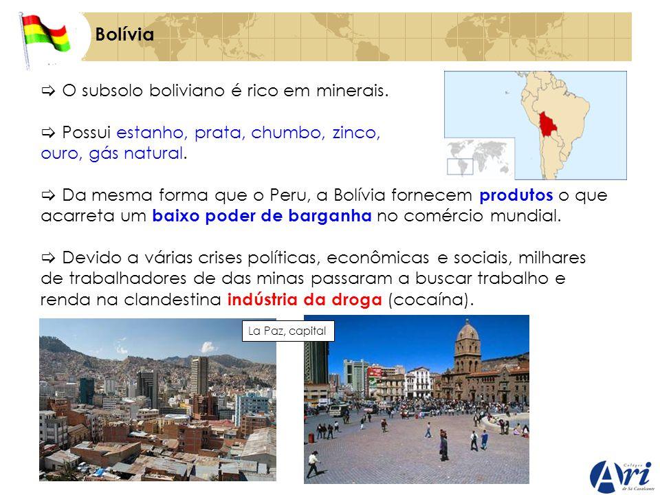 Bolívia O subsolo boliviano é rico em minerais. Possui estanho, prata, chumbo, zinco, ouro, gás natural. Da mesma forma que o Peru, a Bolívia fornecem