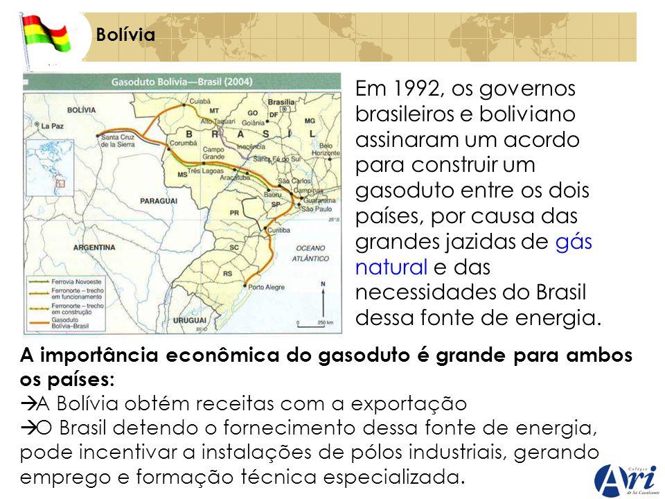 Bolívia Em 1992, os governos brasileiros e boliviano assinaram um acordo para construir um gasoduto entre os dois países, por causa das grandes jazidas de gás natural e das necessidades do Brasil dessa fonte de energia.