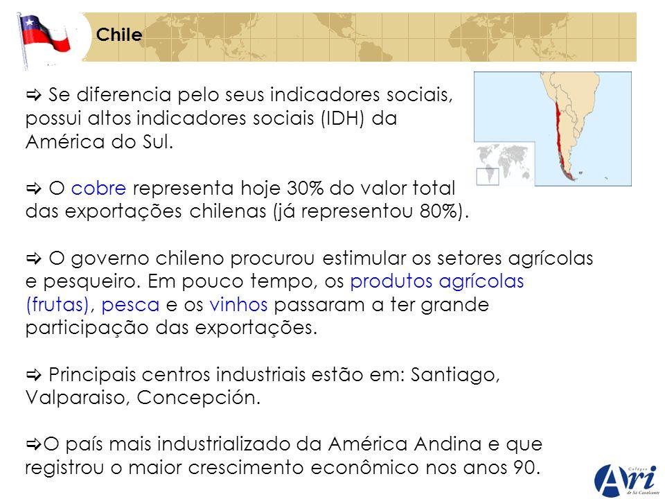 Chile Se diferencia pelo seus indicadores sociais, possui altos indicadores sociais (IDH) da América do Sul. O cobre representa hoje 30% do valor tota