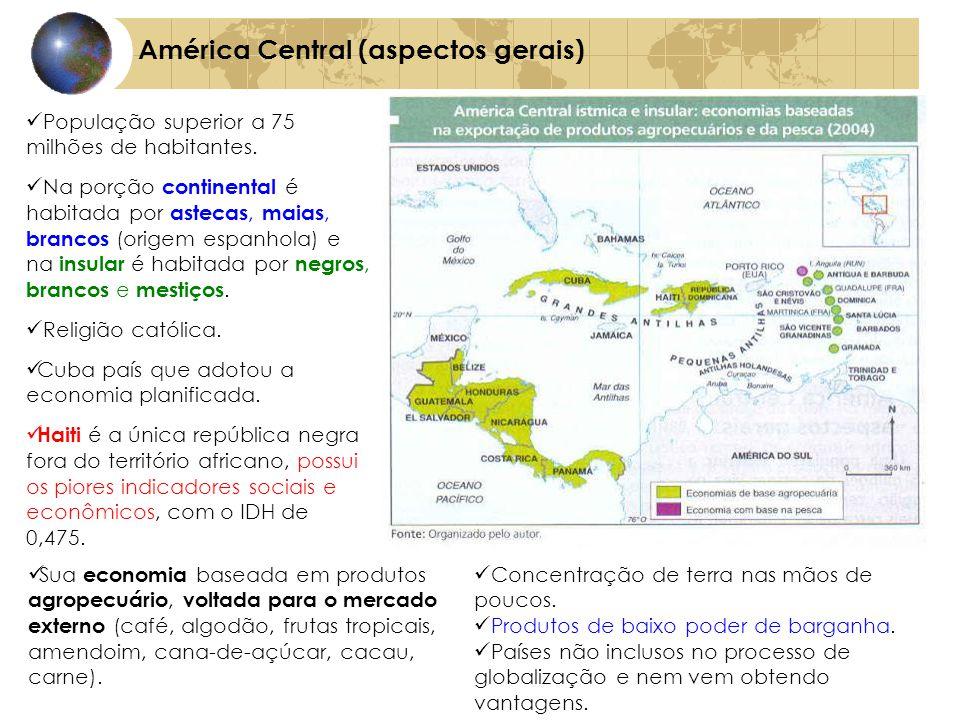 América Central (aspectos gerais) População superior a 75 milhões de habitantes. Na porção continental é habitada por astecas, maias, brancos (origem