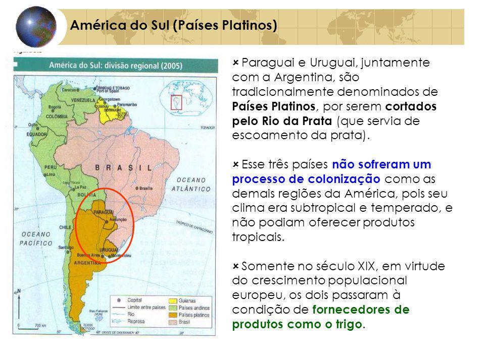 América do Sul (Países Platinos) Paraguai e Uruguai, juntamente com a Argentina, são tradicionalmente denominados de Países Platinos, por serem cortad