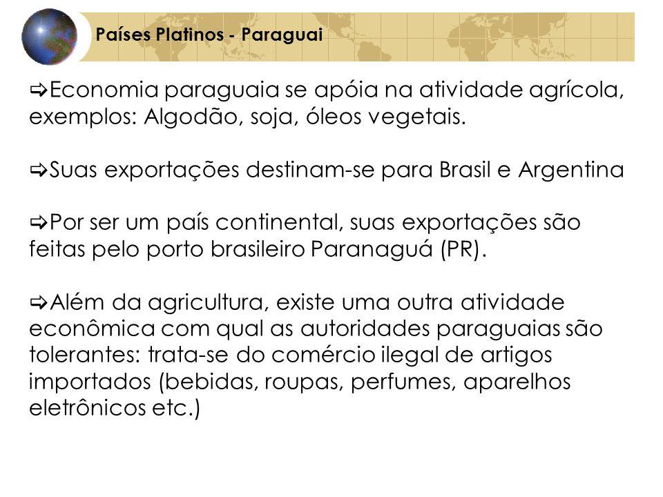 Países Platinos - Paraguai Economia paraguaia se apóia na atividade agrícola, exemplos: Algodão, soja, óleos vegetais.