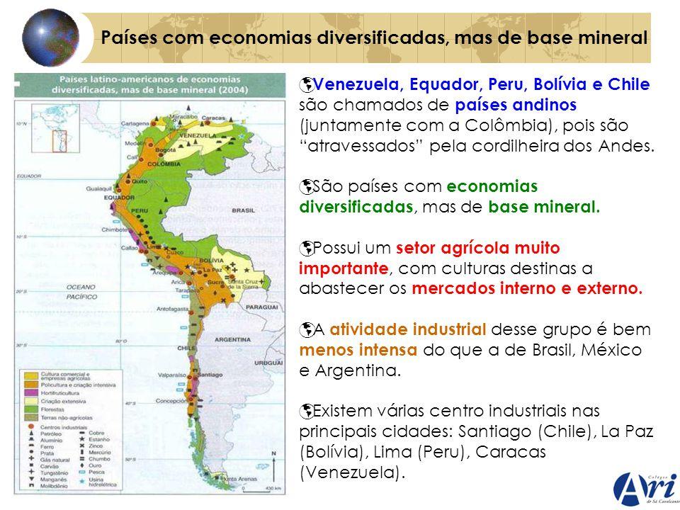 Países com economias diversificadas, mas de base mineral Venezuela, Equador, Peru, Bolívia e Chile são chamados de países andinos (juntamente com a Co
