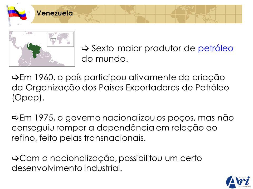 Venezuela Sexto maior produtor de petróleo do mundo. Em 1960, o país participou ativamente da criação da Organização dos Paises Exportadores de Petról