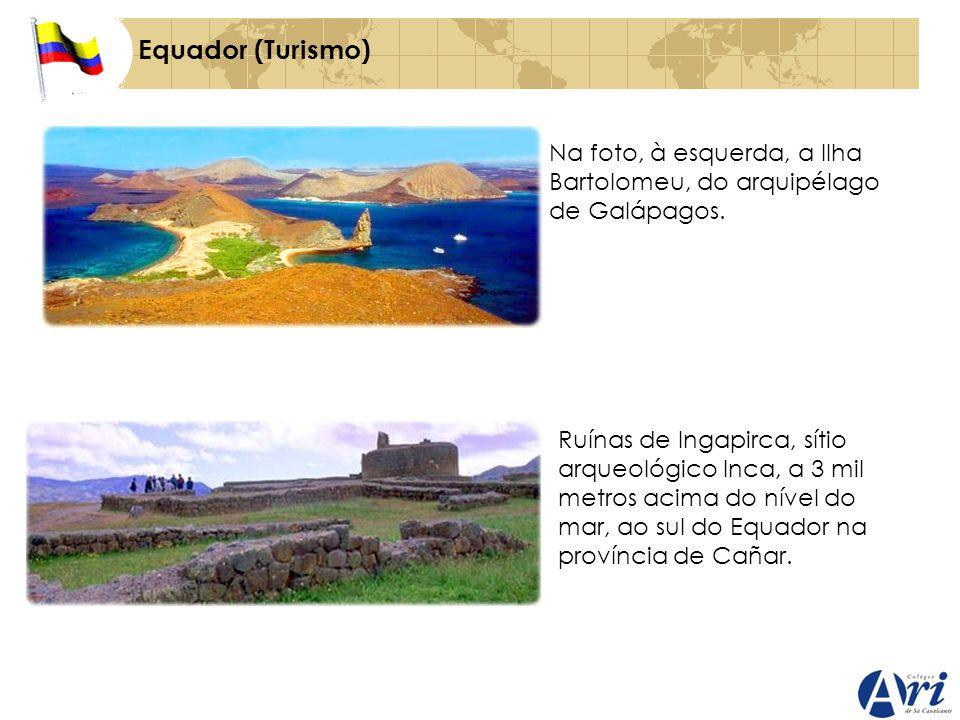 Equador (Turismo) Na foto, à esquerda, a Ilha Bartolomeu, do arquipélago de Galápagos. Ruínas de Ingapirca, sítio arqueológico Inca, a 3 mil metros ac