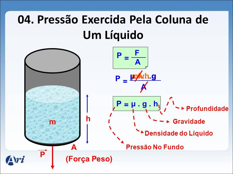 04. Pressão Exercida Pela Coluna de Um Líquido A m P (Força Peso) F A P = m. g A P = μ.v. gμ.A.h.g h μ. g. hP = Pressão No Fundo Densidade do Líquido