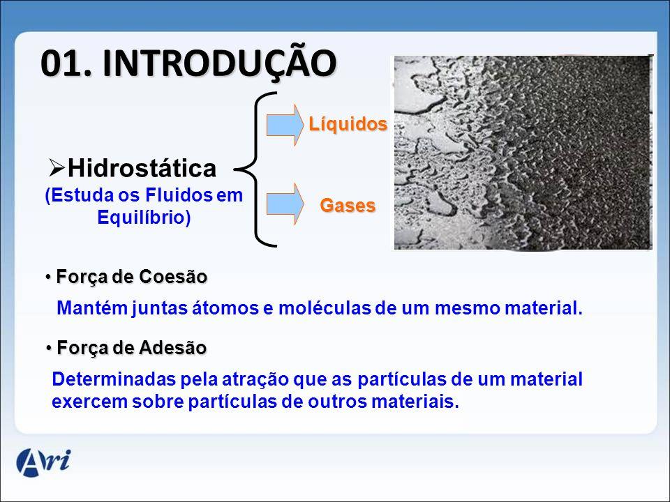01. INTRODUÇÃO Hidrostática (Estuda os Fluidos em Equilíbrio) Líquidos Gases F Força de Coesão Mantém juntas átomos e moléculas de um mesmo material.