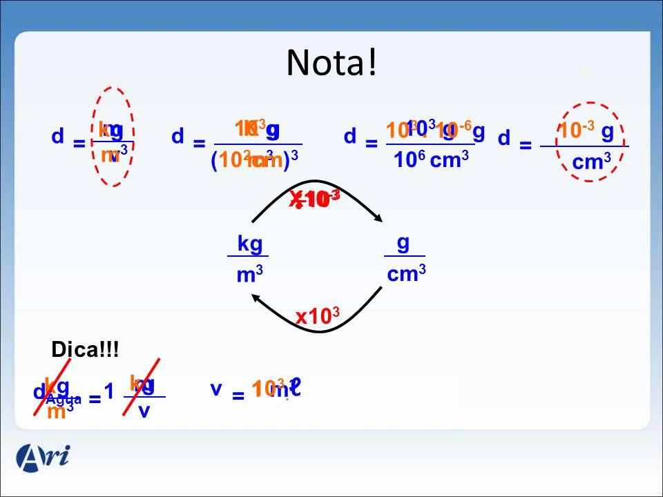 Nota! m v d = kgkg m3m3 K g m3m3 d = 10 3 g (10 2 cm) 3 10 3 g 10 6 d = 10 3. 10 -6 g cm 3 10 -3 g d = cm 3 kg m3m3 g cm 3 10 3 x10 3 X10 -3 Dica!!! m