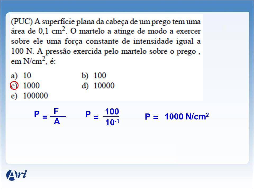 Outra Unidade Usual F A P = kgf cm 2 Atmosfera técnica métrica = 1 1 atm = 1 kgf cm 2 P = 9,8N 10 -4 m 2 1 9,8.