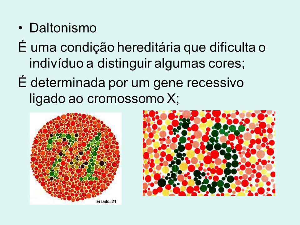 Daltonismo É uma condição hereditária que dificulta o indivíduo a distinguir algumas cores; É determinada por um gene recessivo ligado ao cromossomo X