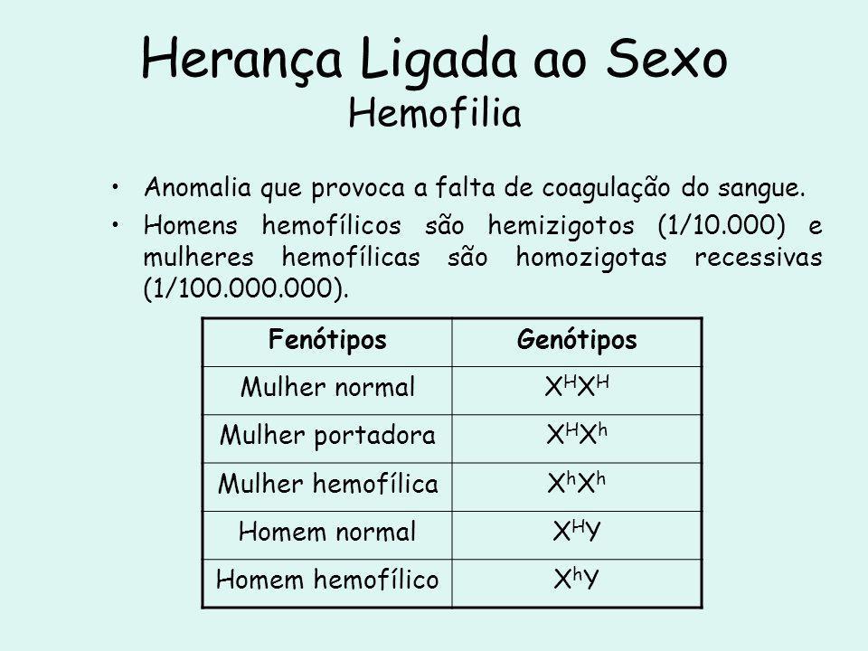 Herança Ligada ao Sexo Hemofilia Anomalia que provoca a falta de coagulação do sangue. Homens hemofílicos são hemizigotos (1/10.000) e mulheres hemofí