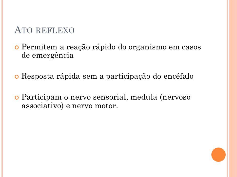 A TO REFLEXO Permitem a reação rápido do organismo em casos de emergência Resposta rápida sem a participação do encéfalo Participam o nervo sensorial, medula (nervoso associativo) e nervo motor.