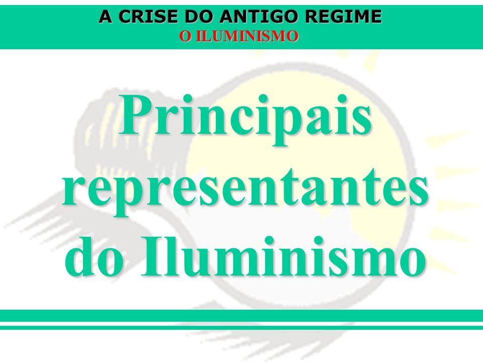 A CRISE DO ANTIGO REGIME O ILUMINISMO Principais representantes do Iluminismo