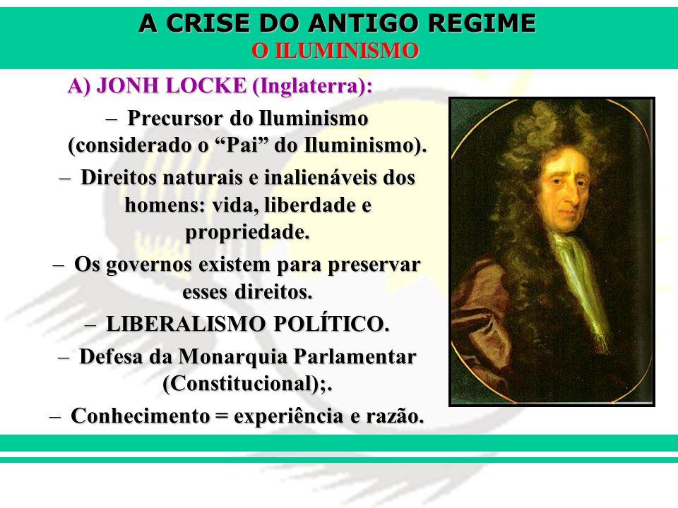 A CRISE DO ANTIGO REGIME O ILUMINISMO A) JONH LOCKE (Inglaterra): –Precursor do Iluminismo (considerado o Pai do Iluminismo). –Direitos naturais e ina