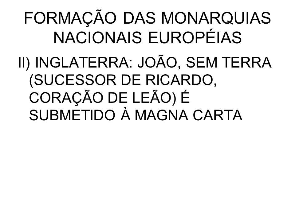 FORMAÇÃO DAS MONARQUIAS NACIONAIS EUROPÉIAS II) INGLATERRA: JOÃO, SEM TERRA (SUCESSOR DE RICARDO, CORAÇÃO DE LEÃO) É SUBMETIDO À MAGNA CARTA